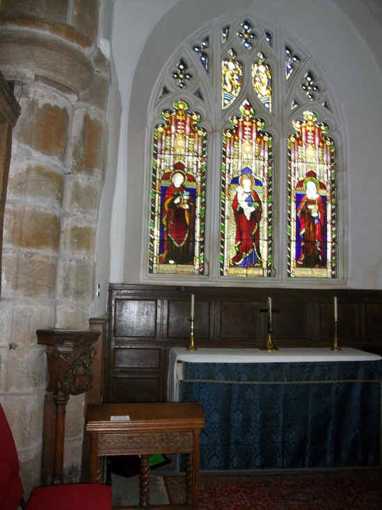 Whaaley Church, The Lady Chapel with stained glass window by Edward Burne - Jones